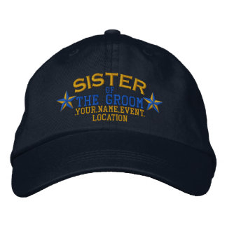 Personalized Stars Sister of the Groom Gold Blue Cap