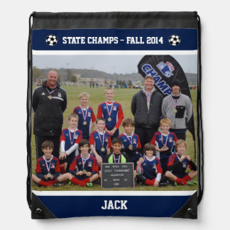 Personalized State Soccer Champs Blue Sling Bag Cinch Bags