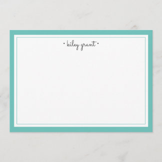 Personalized Stationery Flat Card | Turquoise