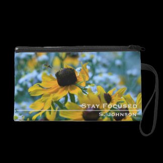 Personalized Stay Focused Daisies Custom Wristlet Purse