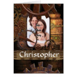 Personalized steampunk machinery greeting cards