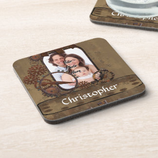 Personalized steampunk photo template beverage coaster