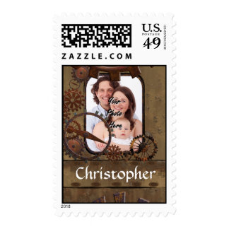 Personalized steampunk photo template postage stamp