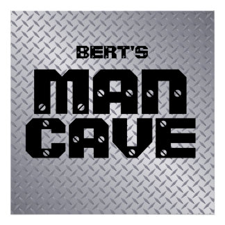Personalized Steel Diamond Plate Man Cave Poster