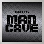 Personalized Steel Diamondplate Man Cave Poster