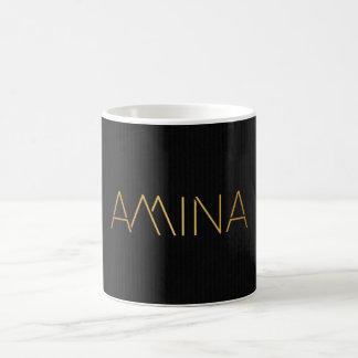 Personalized Stencil Font Amina Gold Coffee Mug