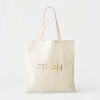Personalized Stencil Font Ethan Gold Black Tote Bag