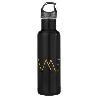 Personalized Stencil Font James Gold Black Water Bottle