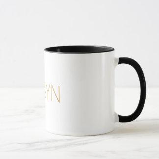 Personalized Stencil Font Robyn Gold Black Mug