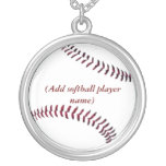 Personalized Sterling Girls Softball Necklace