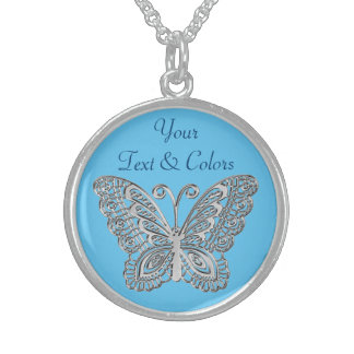 Personalized Sterling Silver Butterfly Necklace