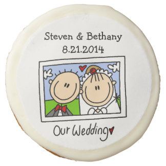 Personalized Stick Figure Wedding Photo Cookie