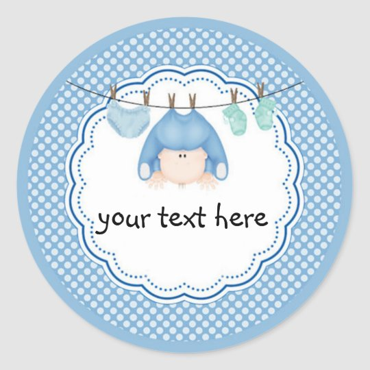 Personalized Sticker Baby Boy Laundry Classic Round Sticker