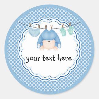 Personalized Sticker/Baby Boy Laundry Classic Round Sticker