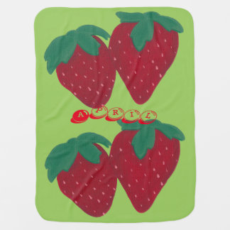 Personalized Strawberry Baby Blankets