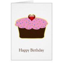 Personalized Strawberry Heart Cupcake Themed Gifts Card