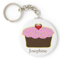 Personalized Strawberry Heart Cupcake Themed Gifts Keychain