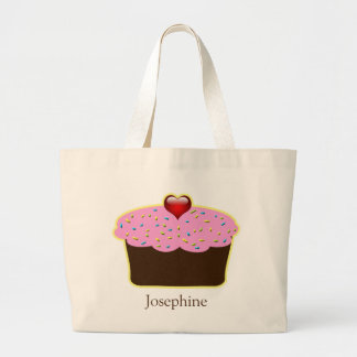 Personalized Strawberry Heart Cupcake Themed Gifts Large Tote Bag