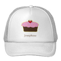 Personalized Strawberry Heart Cupcake Themed Gifts Trucker Hat