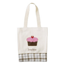 Personalized Strawberry Heart Cupcake Themed Gifts Zazzle HEART Tote Bag