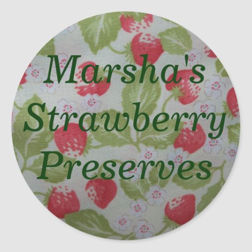 Personalized Strawberry Preserves Canning Label Stickers