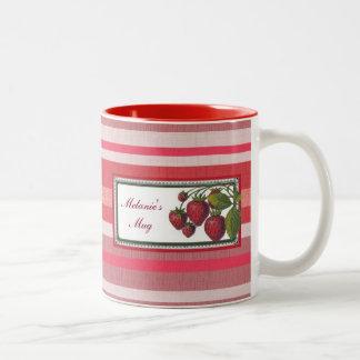 Personalized Strawberry Red Stripe Two-Tone Coffee Mug