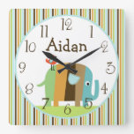 Personalized Striped African Elephant Clock