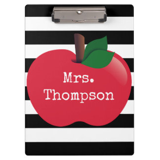 Personalized Striped Apple Clipboard
