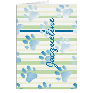 Personalized Striped Blue Paw Print Card