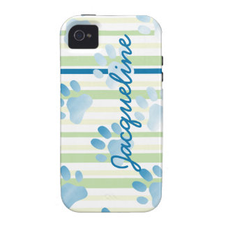 Personalized Striped Blue Paw Print iPhone 4/4S Case
