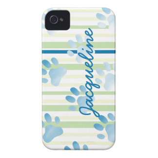 Personalized Striped Blue Paw Print iPhone 4 Case-Mate Case