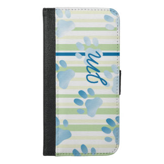 Personalized Striped Blue Paw Print Monogram iPhone 6/6s Plus Wallet Case