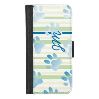 Personalized Striped Blue Paw Print Monogram iPhone 8/7 Wallet Case