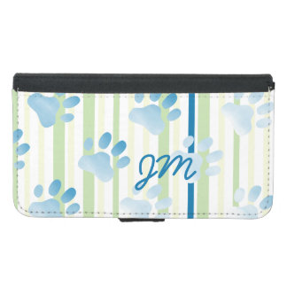 Personalized Striped Blue Paw Print Monogram Wallet Phone Case For Samsung Galaxy S5