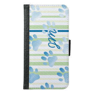 Personalized Striped Blue Paw Print Monogram Wallet Phone Case For Samsung Galaxy S6