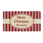 Personalized Striped Christmas Labels