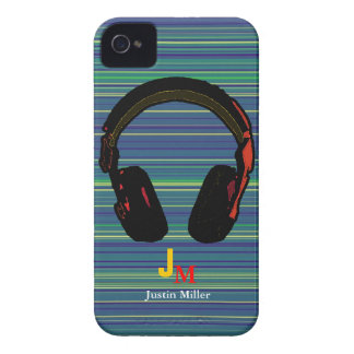 personalized striped dj headphone iPhone 4 case