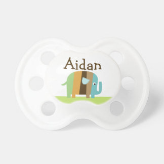 """Personalized """"Striped Elephant"""" Baby Pacifier"""