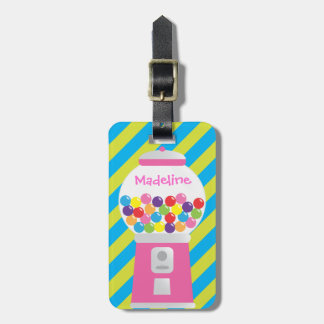 Personalized Striped Gumball Machine Luggage Tag