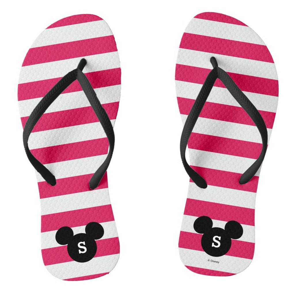 Personalized Striped Mickey Head Silhouette Flip Flops