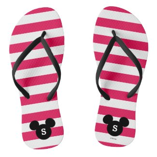 Personalized Striped Mickey Head Silhouette Flip Flops