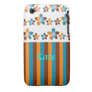 Personalized Striped Orange, Blue, Brown, and Whit iPhone 3 Case