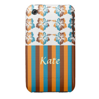 Personalized Striped Orange, Blue, Brown, and Whit iPhone 3 Cover
