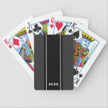 "Personalized striped playing cards with monogram<br><div class=""desc"">Personalized playing cards with zig zag stripe pattern. Black and white print with white monogram for name initial letters. Cool poker gift idea for men. Dark black grey background.</div>"