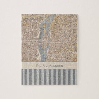Personalized Striped Vintage Antique Map of Paris Jigsaw Puzzles