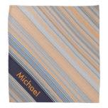 Personalized Stripes - Blue and Orange Bandana