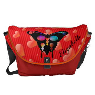 Personalized Stripes & Hearts Butterfly Messenger Courier Bag