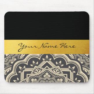 Personalized Stylish Black & Gold Mandala Mouse Pad