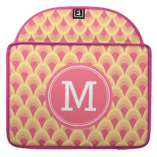 Personalized Stylish Blush Pink Geometric Monogram Sleeve For MacBooks
