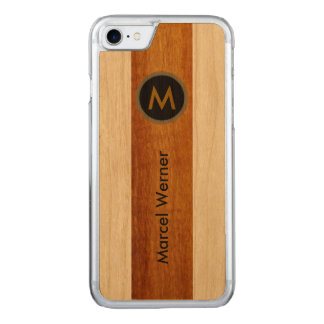 Wood - personalized stylish monogram carved iPhone 7 case